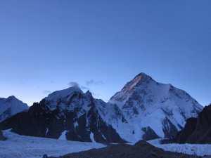 K2 from my tent door at Broad Peak Base Camp, Karakoram, Pakistan © John Roberts