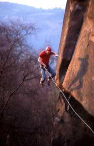 The bold way and the old way... Taking the fall on a flash attempt of Gaia, E8 6c © Alex Messenger