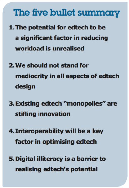 the bullet summary for reducing teacher workload using technology