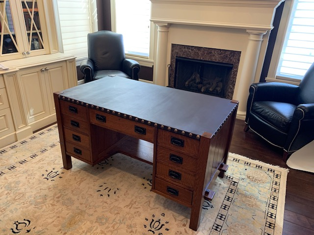 wood desk with leather top 2