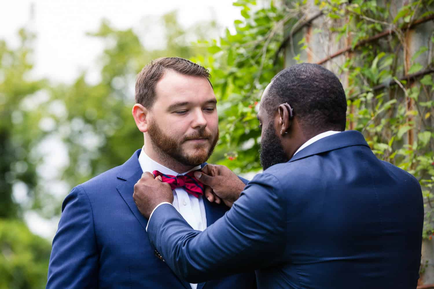 A first look at a twin silos wedding between a gay couple.