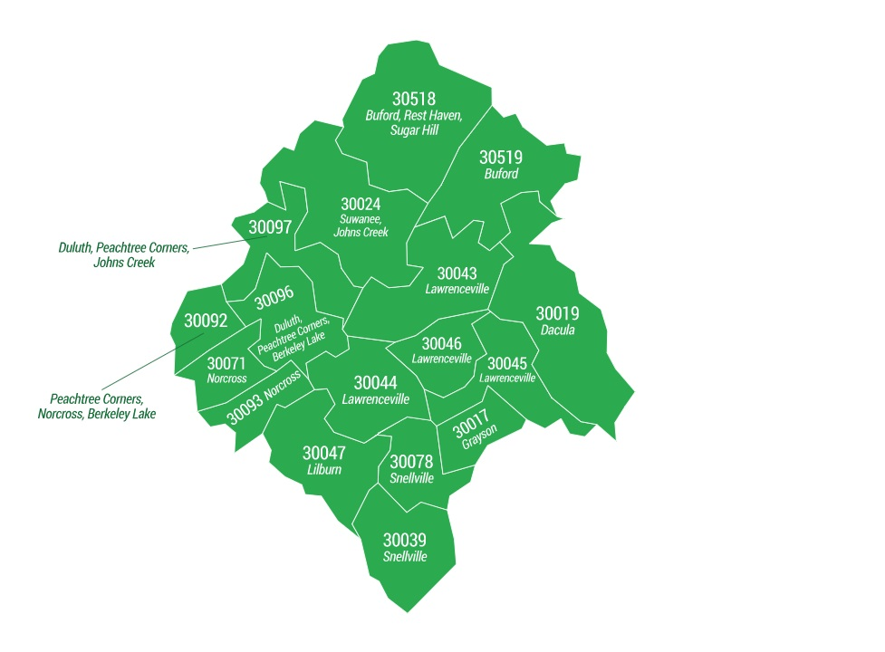 Gwinnett County ZIP Code Areas