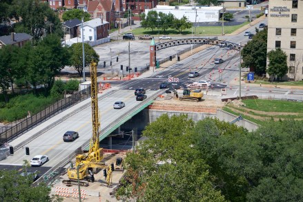 Under-construction: the Grand Avenue bridge over Highway 44.