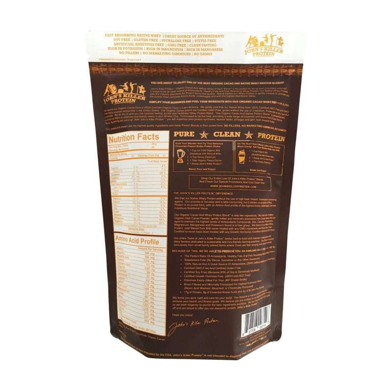 Sugar free organic chocolate protein powder by John's Killer Protein®