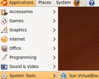 Applications > System Tools > Sun Virtual Box