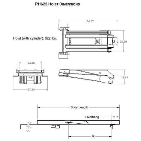 12 Ton (24,000 lb) Dump Trailer Hydraulic Scissor Hoist Dimensions - PH625