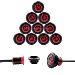10 Pack – 3/4″ Red Side Marker LED Lights (P2 Rated)