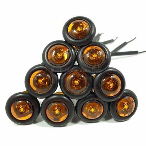 "10 Pack - 3/4"" Amber Side Marker LED Lights (PC Rated)"