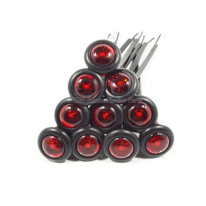 "10 Pack - 3/4"" Red Side Marker LED Lights (PC Rated)"