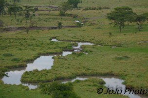 Mara River Tributary seen from Hot Air Balloon Ride in Serengeti