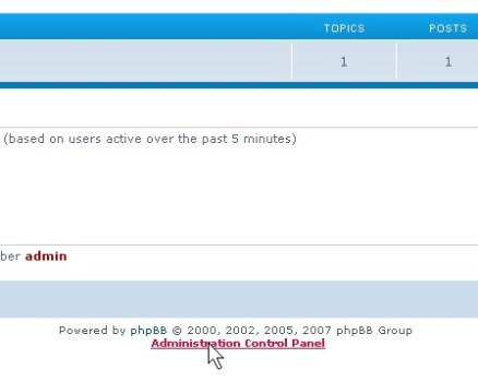 Click on the Administrator Control Panel when logged in with a admin account.