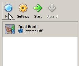 Start up virtual box and press New Button