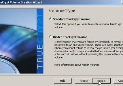 Pick standard truecrypt volume click next button
