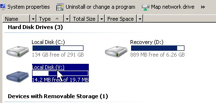 Your drive is now in Windows Explorer My Computer.