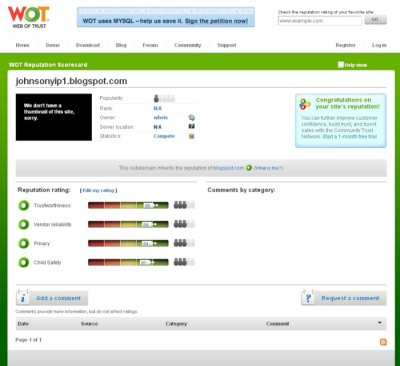 Review MyWOT for my Blogger