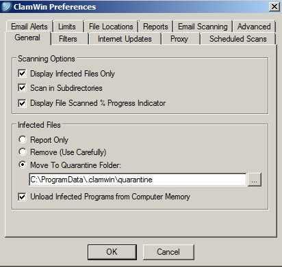 ClamAV preferences