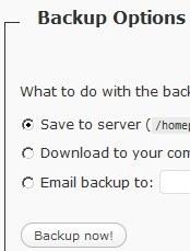 Back up options