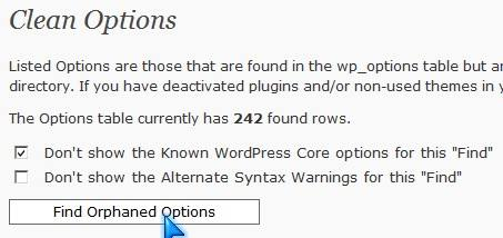 Find Orphaned Options