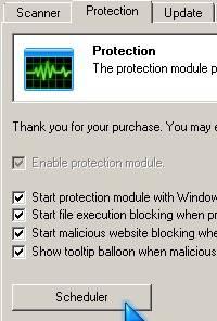 Malwarebytes Scheduler button
