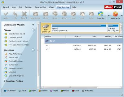 MiniTool Partition Wizard Home Edition 7.7 free