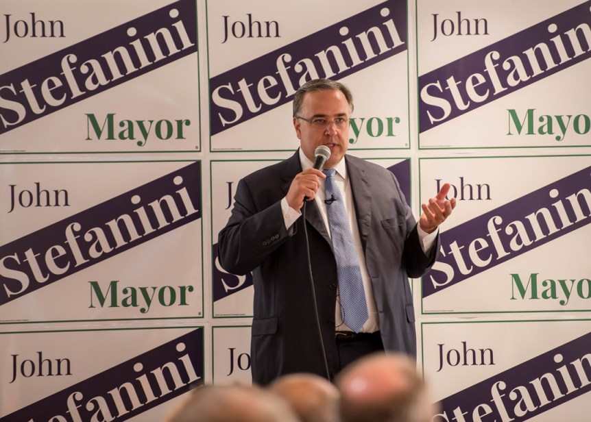 John Stefanini speaks at his campaign kick off for mayor.