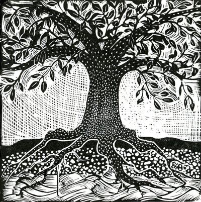 tree wood engraving