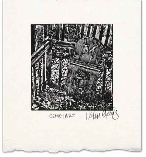 cemetery wood engraving