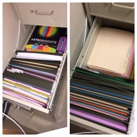 One filing cabinet drawer, before and after