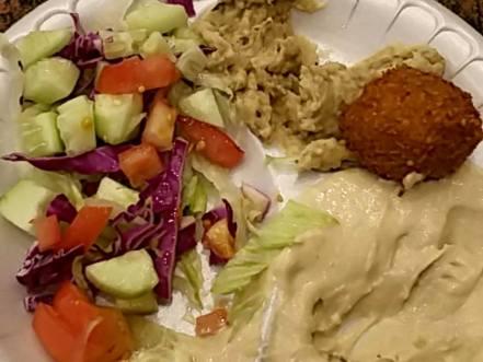 Hummus, baba ghannouj, falafel at Sido Falafel