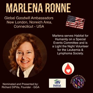 Marlena Ronne - New London - Global Goodwill Ambassador