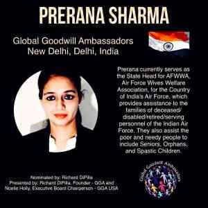 Prerana Sharma - Global Goodwill Ambassadors India - helps providing assistances to poor and needy people