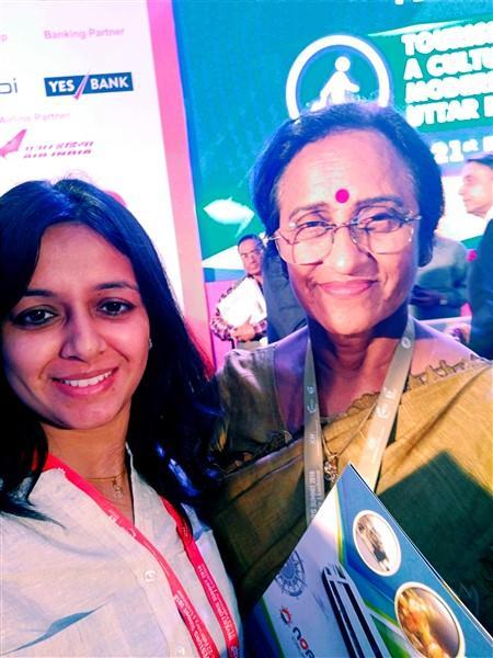 Prerana Sharma with Dr. Rita Bahuguna Joshi - Minister of Women Welfare - Family Welfare - Maternity and Child Welfare and Tourism at Government of Uttar Pradesh