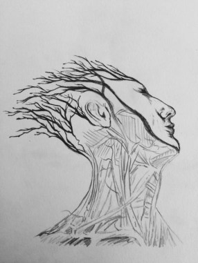 Billie's interpretation using the veins as roots/branches