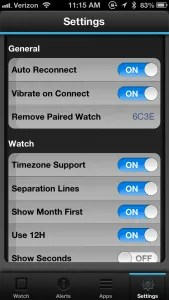 Basic settings screen for configuring the watch functions.