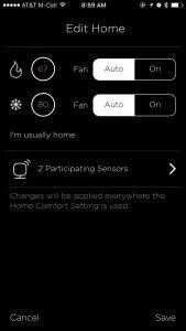 Managing additional Sensors is easy in the EcoBee3 app