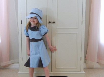 1940's inspired dress and hat set in pale blue and gray jersey knit