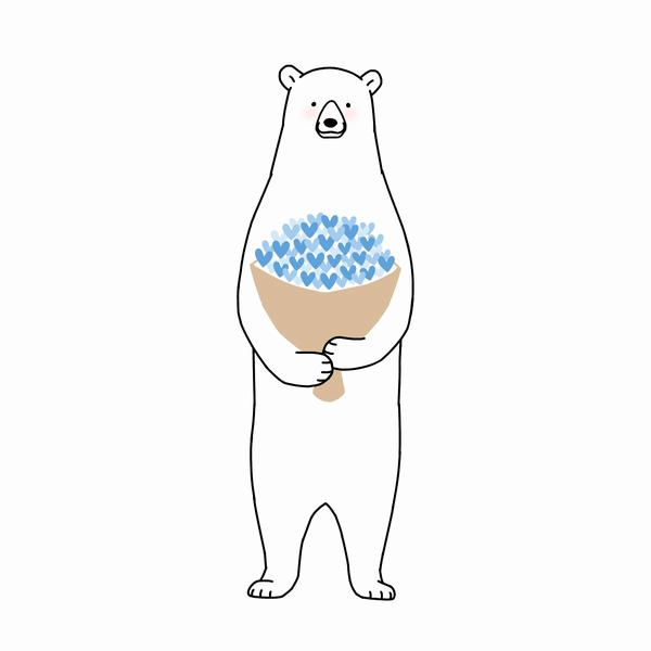 花束を抱えるクマ