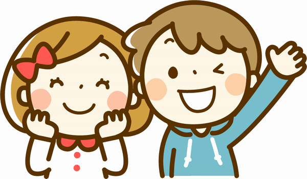 笑顔の女の子と男の子