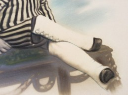 Photographic pastel of a boy, ca. 1880 close up of the legs