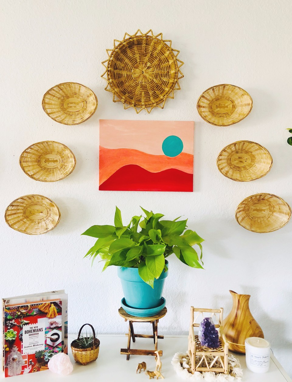 Add some bohemian vibes to your space with a DIY basket wall!
