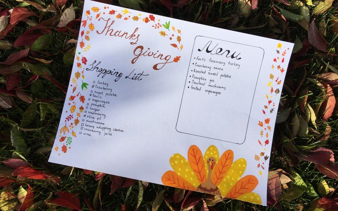 FREEBIE – THANKSGIVING SHOPPING LIST MENU PRINTABLE