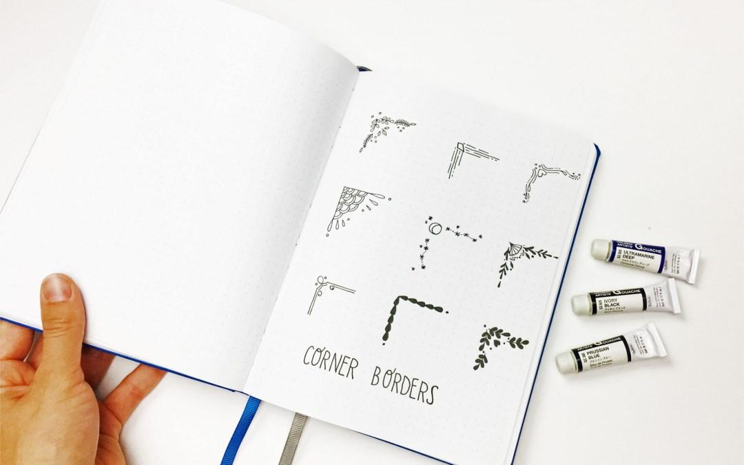 Lovely corner border ideas for your journal.