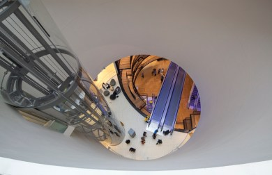 Looking down from the skylight into the Library of Birmingham