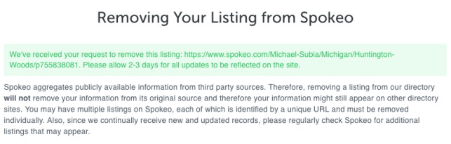 remove yourself from spokeo opt out removal