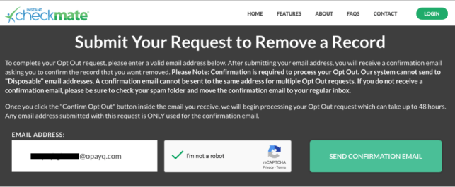 remove yourself from instant checkmate opt out removal