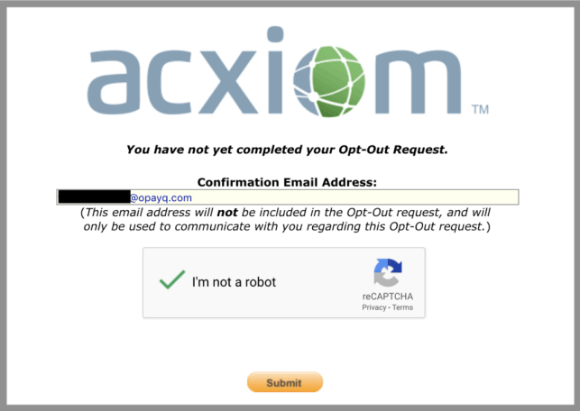 remove yourself from acxiom opt out removal