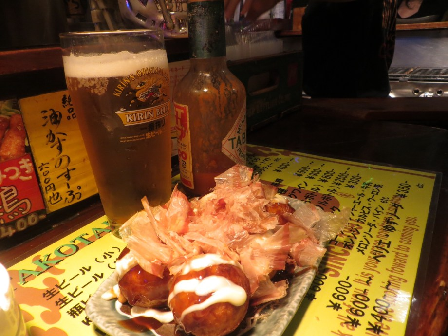 Delicious takoyaki and beer