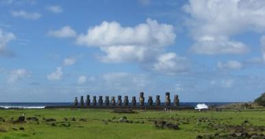 Moai statues at ahu tongariki on Easter Island