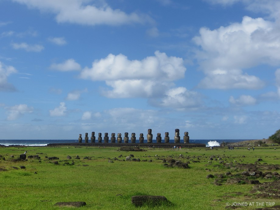 Moai statues at ahu tongariki on Easter Island
