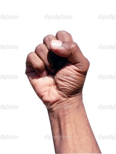 african american hand gesture in a clenched fist
